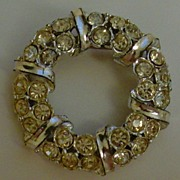 Silver-Tone and Clear Rhinestone Brooch