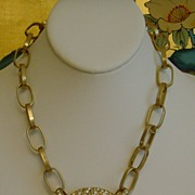 SALE Ann Klein Matte Gold-Tone and Rhinestone Necklace