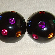 SALE Black Lucite and Multi-Colored Rhinestone Clip-On Earrings