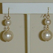 Simulated Pearl Dangle Pierced Earrings