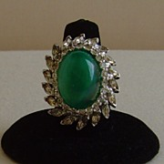 JomazⓒRhinestone and Simulated Opaline Emerald Cocktail Ring