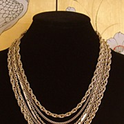Vintage 7 Strand Gold-Tone Chain Necklace