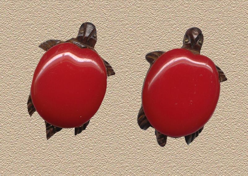 Vintage Bakelite Turtle Dress Clips c1930 REDUCED