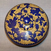 Cloisonne Covered Bowl Unusual Color Mix