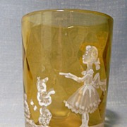 Mary Gregory Tumbler Dog and Girl