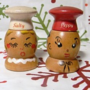 Cute HP Little Wooden Salt and Pepper Shakers