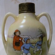 Royal Bayreuth Vase/Bottle Children Playing and Silver Hallmark