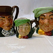 3 Royal Doulton Mini Toby Jugs 2 Sairey Gamp & Old Charley