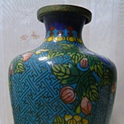 SALE Old Enamel Cloisonne Tall Vase Floral Design