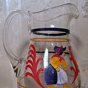 "Enameled Glass Pitcher Quimper Style    "" Free Shipping"""