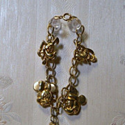 Disney Gold Toned Charm Bracelet Signed