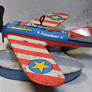 Vintage Ohio Art Tin Windup Toy Plane