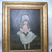Antique Victorian Girl Painting Oil on Board