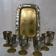 Taxco Abalone and Brass Cordial Cups and Tray