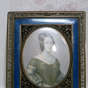 Antique Minature Portrait Painting in Sepia