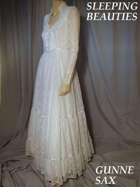 Vintage Gunne Sax Romantic Corset Bodice All Lace White Wedding Dress Size 9