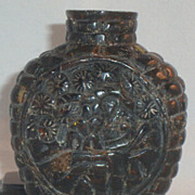 SALE Carved Amber Snuff Bottle