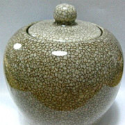 SOLD Porcelain Covered Pot-Crackle Glaze