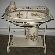 Child's antique French Sarreguemines Kate Greenaway Enfants Richard washstand with basin & pit