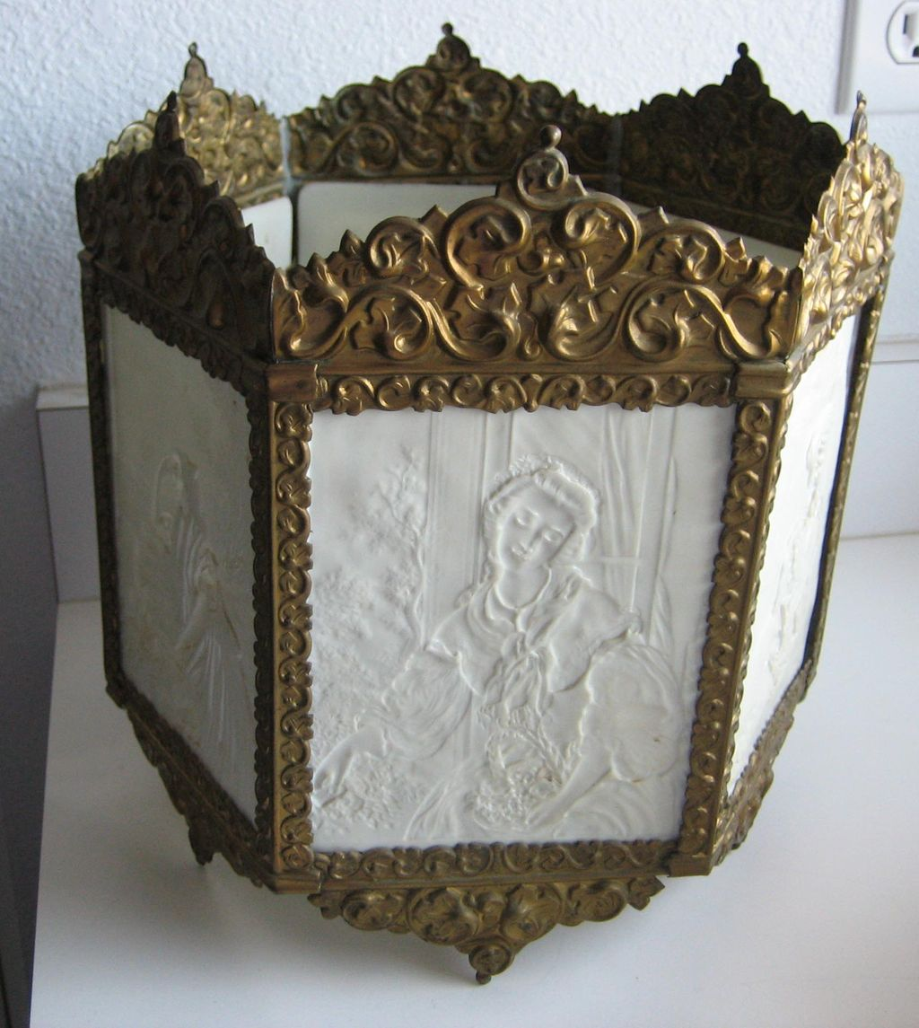 Antique German porcelain Lithophane panel light fixture or candle holder KPM