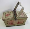Antique German Tin litho Miniature Picnic basket penny toy