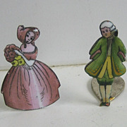 Porcelain antique enamel couple pr place card holders