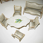 Antique Gottschalk French miniature dollhouse furniture Dresden trim & blue silk