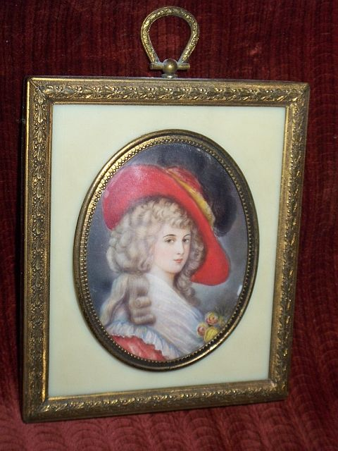Antique French Miniature Lady portrait in gilt frame