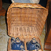 Antique French Traveling wicker liquor cobalt blue pottery jug set