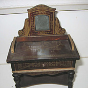 Antique doll house miniature Boule Biedermeier mirrored vanity