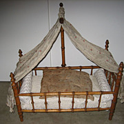 Antique French Faux Bamboo maplewood canopy doll bed