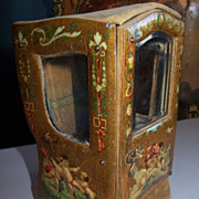 Antique French Miniature enamel cherub vitrine sedan chair watch holder