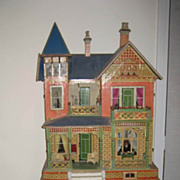 Large Antique German Gottschalk Blue Roof doll house