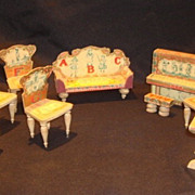 Antique Bliss ABC Dollhouse 9pc wood paper litho Living Room Set
