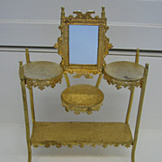 Antique miniature dollhouse furniture German Erhard & S�hne Ormolu  �tag�re with mirror