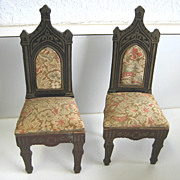 Antique miniature doll house furniture German Biedermeier floral fabric Gothic style pair of c