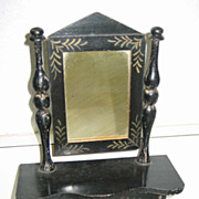 Antique toy miniature furniture Kestner German Boule antique black with gilt stenciled Dresser