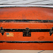 Antique red dome top wood child's or doll trunk