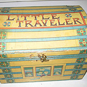 Little Traveler antique paper litho doll trunk,