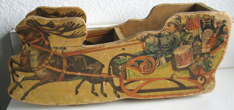 Bliss Santa sleigh antique lithographed paper on wood Christmas toy