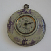 Antique tin litho German miniature doll house clock