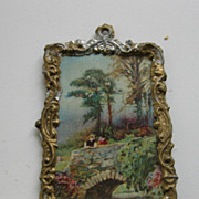 Antique doll house gilt metal miniature picture Scenic bridge