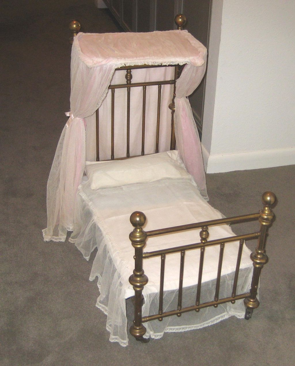 antique doll half tester canopy brass bed from