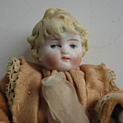 "Antique dollhouse doll 5"" Molded curly hair"