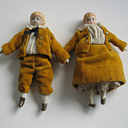 Antique dollhouse brother & sister dolls