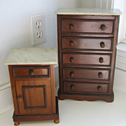 Antique French Mahogany doll furniture with marble tops