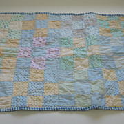 Antique child's or antique doll quilt pinks blue cotton squares
