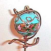 Beautiful antique hat pin decorated gold blue Venetian glass