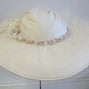 Vintage Antique look Ivory Wedding hat Laura Ashley