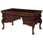 Mahogany Victorian figural carved partner's desk